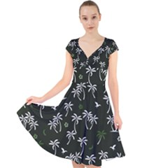 Tropical Pattern Cap Sleeve Front Wrap Midi Dress