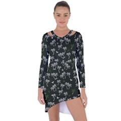 Tropical Pattern Asymmetric Cut Out Shift Dress