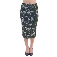 Tropical Pattern Velvet Midi Pencil Skirt