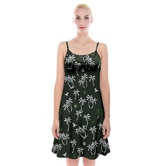 Tropical Pattern Spaghetti Strap Velvet Dress