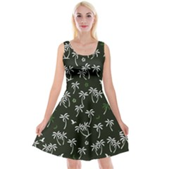 Tropical Pattern Reversible Velvet Sleeveless Dress
