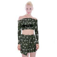 Tropical Pattern Off Shoulder Top With Mini Skirt Set
