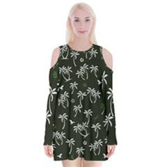 Tropical Pattern Velvet Long Sleeve Shoulder Cutout Dress