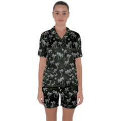 Tropical Pattern Satin Short Sleeve Pyjamas Set