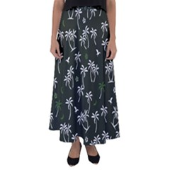 Tropical Pattern Flared Maxi Skirt