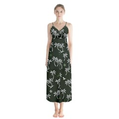 Tropical Pattern Button Up Chiffon Maxi Dress