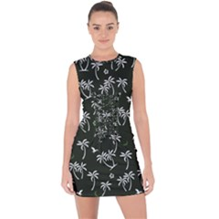 Tropical Pattern Lace Up Front Bodycon Dress