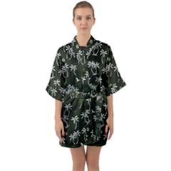 Tropical Pattern Quarter Sleeve Kimono Robe