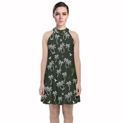 Tropical Pattern Velvet Halter Neckline Dress