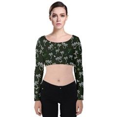 Tropical Pattern Velvet Crop Top