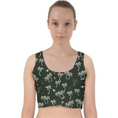 Tropical Pattern Velvet Racer Back Crop Top