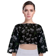 Tropical Pattern Tie Back Butterfly Sleeve Chiffon Top