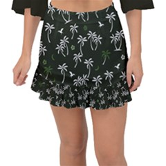 Tropical Pattern Fishtail Mini Chiffon Skirt