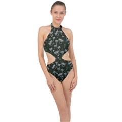 Tropical Pattern Halter Side Cut Swimsuit