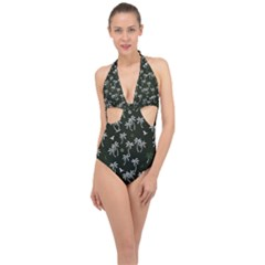 Tropical Pattern Halter Front Plunge Swimsuit