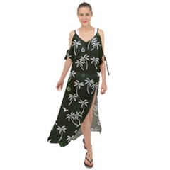Tropical Pattern Maxi Chiffon Cover Up Dress