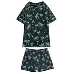 Tropical Pattern Kids  Swim Tee And Shorts Set
