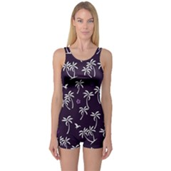 Tropical Pattern One Piece Boyleg Swimsuit