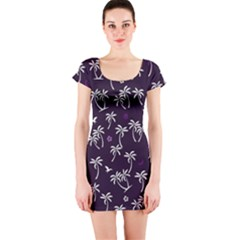 Tropical Pattern Short Sleeve Bodycon Dress