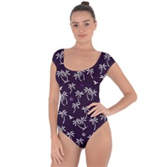 Tropical Pattern Short Sleeve Leotard