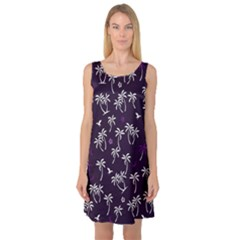 Tropical Pattern Sleeveless Satin Nightdress