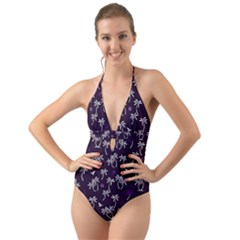 Tropical Pattern Halter Cut Out One Piece Swimsuit