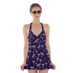 Tropical Pattern Halter Dress Swimsuit