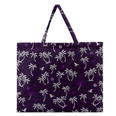 Tropical Pattern Zipper Large Tote Bag