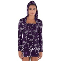 Tropical Pattern Long Sleeve Hooded T Shirt