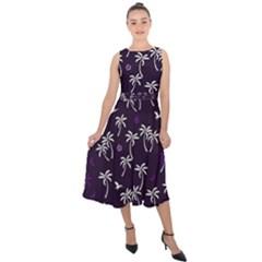Tropical Pattern Midi Tie Back Chiffon Dress
