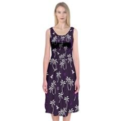Tropical Pattern Midi Sleeveless Dress