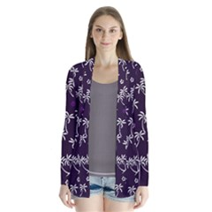 Tropical Pattern Drape Collar Cardigan