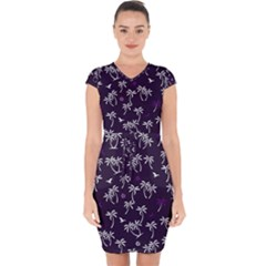 Tropical Pattern Capsleeve Drawstring Dress