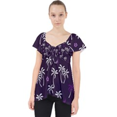 Tropical Pattern Lace Front Dolly Top