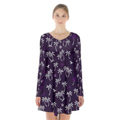 Tropical Pattern Long Sleeve Velvet V Neck Dress