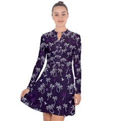 Tropical Pattern Long Sleeve Panel Dress