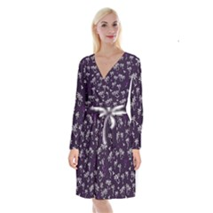 Tropical Pattern Long Sleeve Velvet Front Wrap Dress