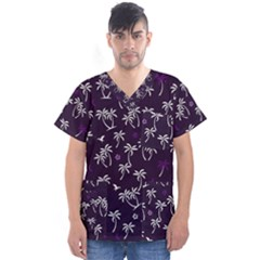 Tropical Pattern Men s V Neck Scrub Top