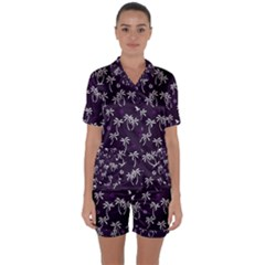 Tropical Pattern Satin Short Sleeve Pyjamas Set