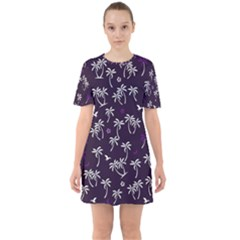 Tropical Pattern Sixties Short Sleeve Mini Dress