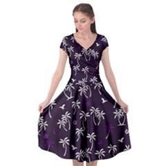 Tropical Pattern Cap Sleeve Wrap Front Dress