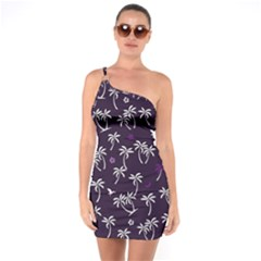 Tropical Pattern One Soulder Bodycon Dress