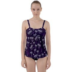 Tropical Pattern Twist Front Tankini Set