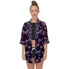 Tropical Pattern Open Front Chiffon Kimono
