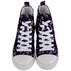 Tropical Pattern Women s Mid Top Canvas Sneakers