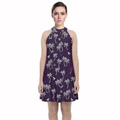 Tropical Pattern Velvet Halter Neckline Dress