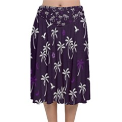 Tropical Pattern Velvet Flared Midi Skirt
