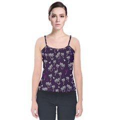 Tropical Pattern Velvet Spaghetti Strap Top