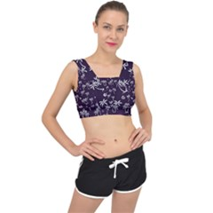 Tropical Pattern V Back Sports Bra