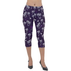 Tropical Pattern Lightweight Velour Capri Leggings